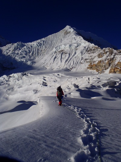 Scott on Ramtang glacier approaching Anidesha Chuli